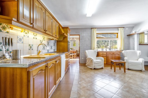 Bright kitchen with seating area