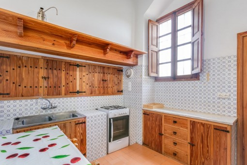 Wooden kitchen and breakfast area