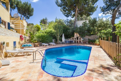 Sunny pool area of the property