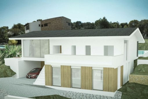 Front view of the fantastic house project