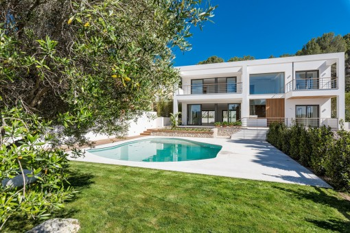 Exterior view of the modern villa with beautiful garden