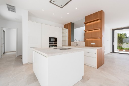 Half-open and modern kitchen with cooking island