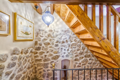 Views of the staircase and the stone wall