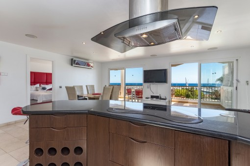 Modern kitchen with sea views