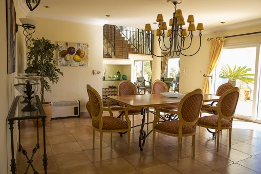 Main dining area with chandelier