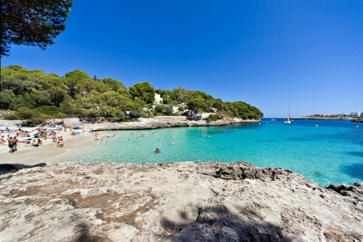Views to the beach from Cala d'Or which is very close