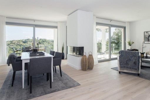 The spacious living and dining area has a modern design