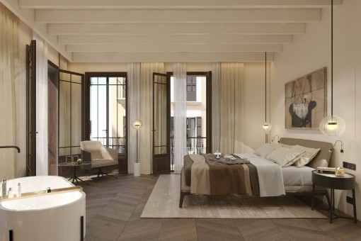 Fantastic and huge master suite with bathtub