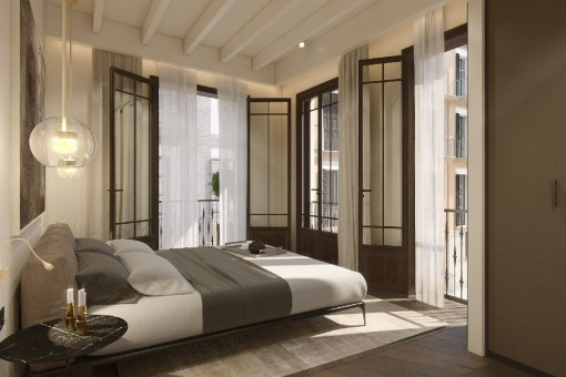 Bedroom with big windows and own bathroom