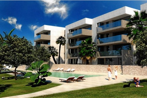 For investors - exclusive new building project with 11 houses and 29 apartments in Font de Sa Cala