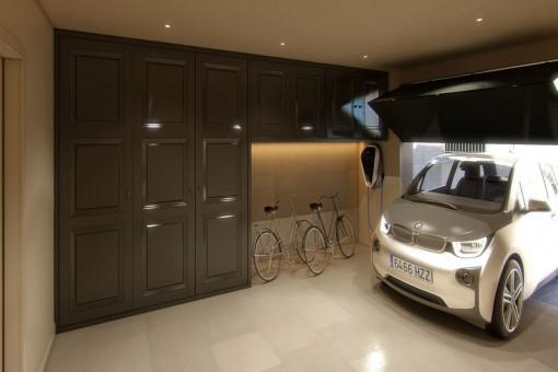 Elegant garage with electric gate