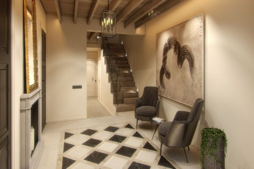 Staircase and entrance area with wooden beams