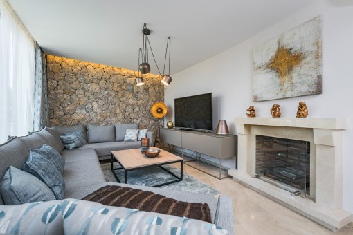 Chill out area with natural stone wall