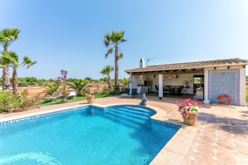 Pool with fantastic summer kitchen and guest house