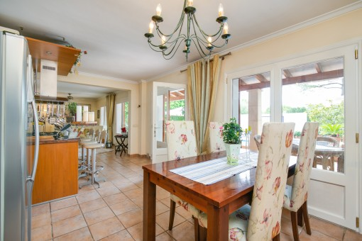 Bright dining area with terrace access
