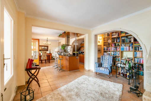 Spacious living area with open kitchen
