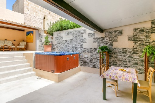Patio with various seating areas