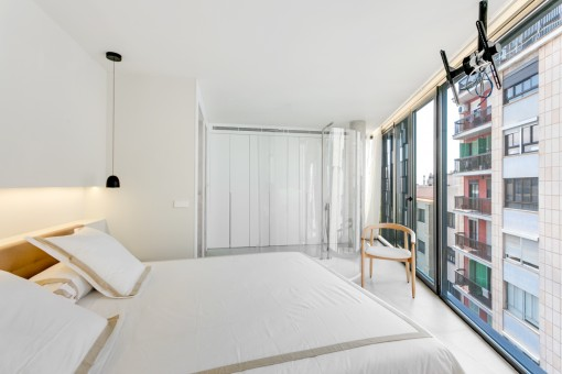 Bedroom with window frontage
