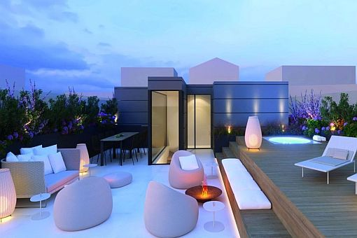 Extravagant newly-built penthouse with large roof terrace and jacuzzi in the centre of Palma