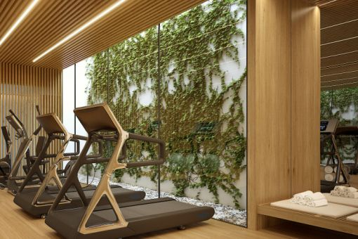 The residential complex offers a fitness room