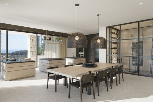Dining area with view to the open kitchen