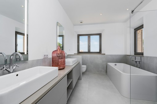 Master bathroom with shower and bath tub