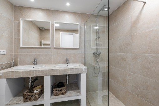 Elegant bathroom with walk-in shower