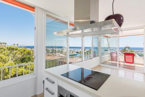 Modern kitchen with sea views