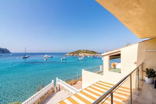 Covered balcony with wonderful sea views