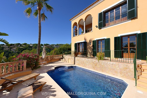 Exterior view of the villa with pool