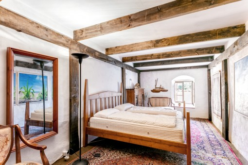 Authentic bedroom with wooden elements