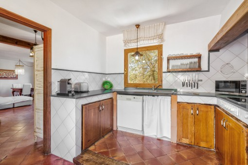Unique and friendly kitchen with wooden furniture