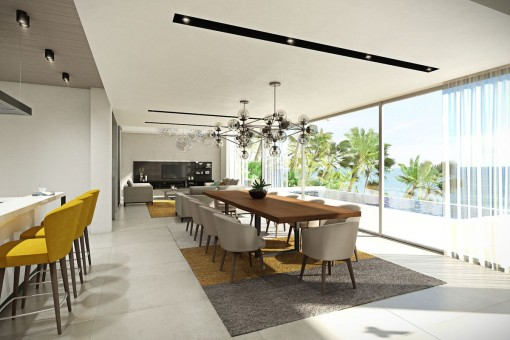 Bright dining area with panorama view