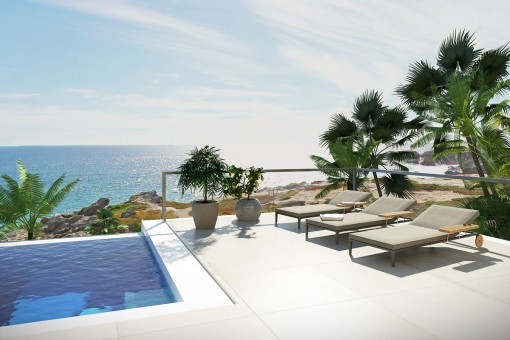 Pool area with marvellous sea view
