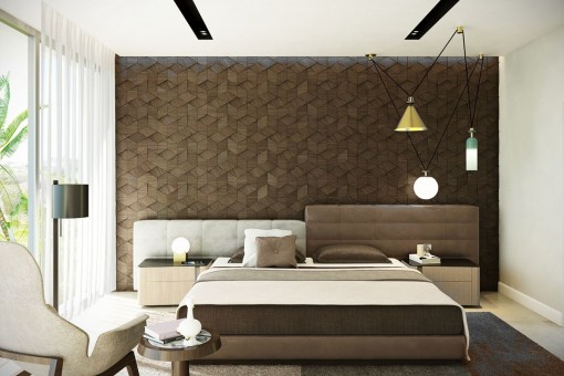 Modern and bright bedroom with double bed