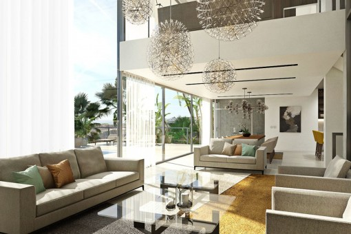 Luminous living area with access to the spacious terrace
