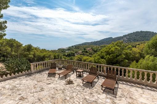 Terrace with panoramic sea views