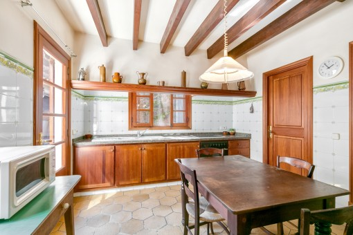 Rustic kitchen with patio access