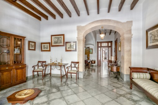 Traditional entrance area with stone arch