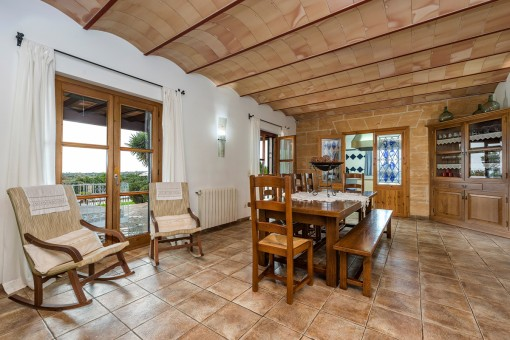 Dining area with lovely wooden furniture