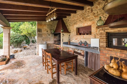 Rustic barbecue area on the covered terrace