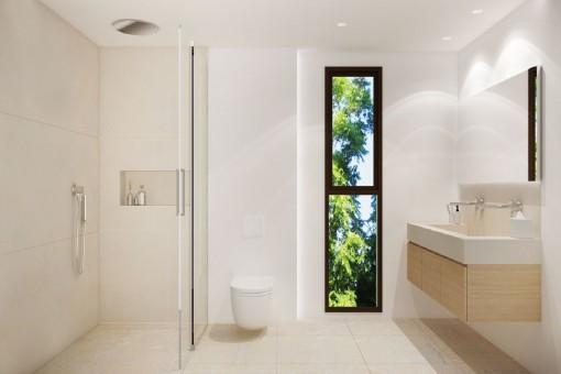 Elegant bathroom with walk-in shower