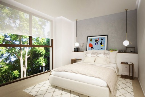 Master bedroom with panoramic window