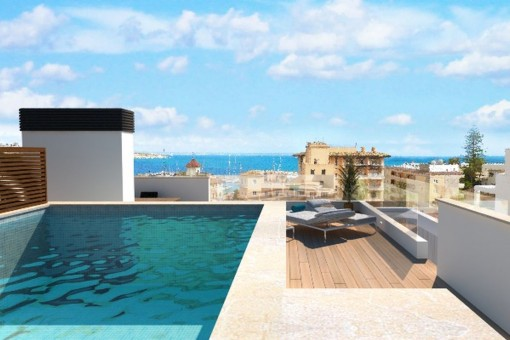 Fantastic newly-built penthouse near to the beach with sea views and private pool on the roof terrace in San Augustin