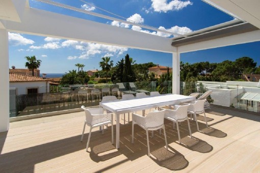Spacious terrace with views and foldable awning