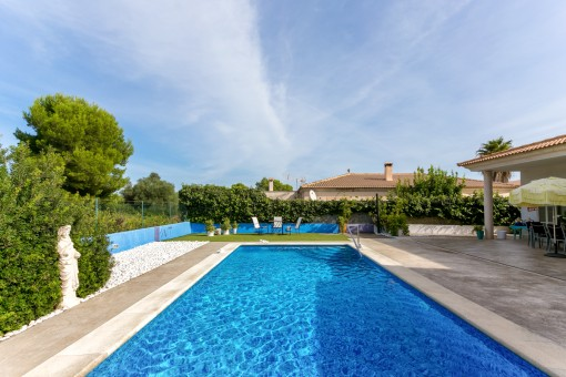 Spacious villa with pool in Son Sierra de Marina situated directly next to a green zone
