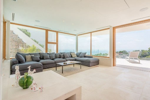 Living area with panoramic sea views