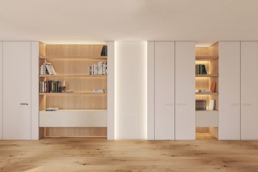 The apartment has a modern design