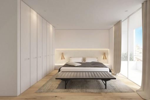 Spacious bedroom with panoramic windows