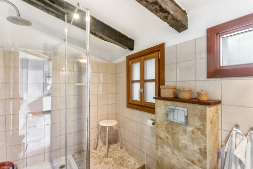 Unique bathroom with sloping roof